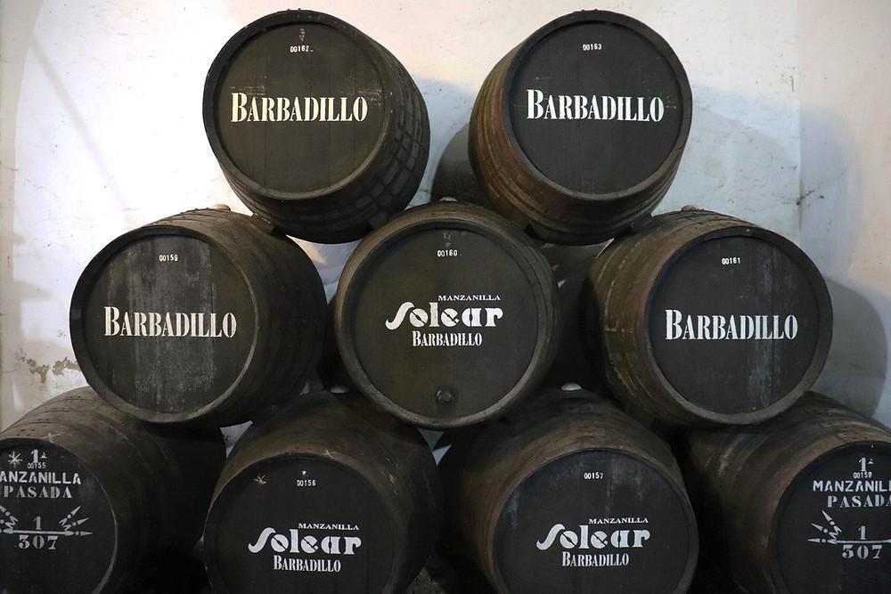 Barrels of Solear from Bodegas Barbadillo stacked in pyramid in Sanlucar de Barrameda, Cadiz