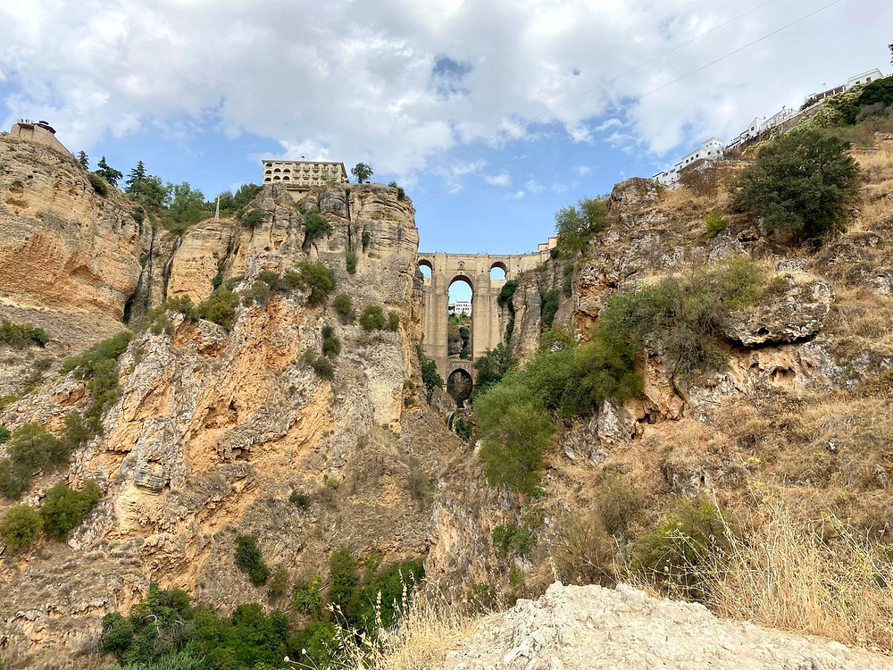 View of the new bridge in Ronda from below in Spain