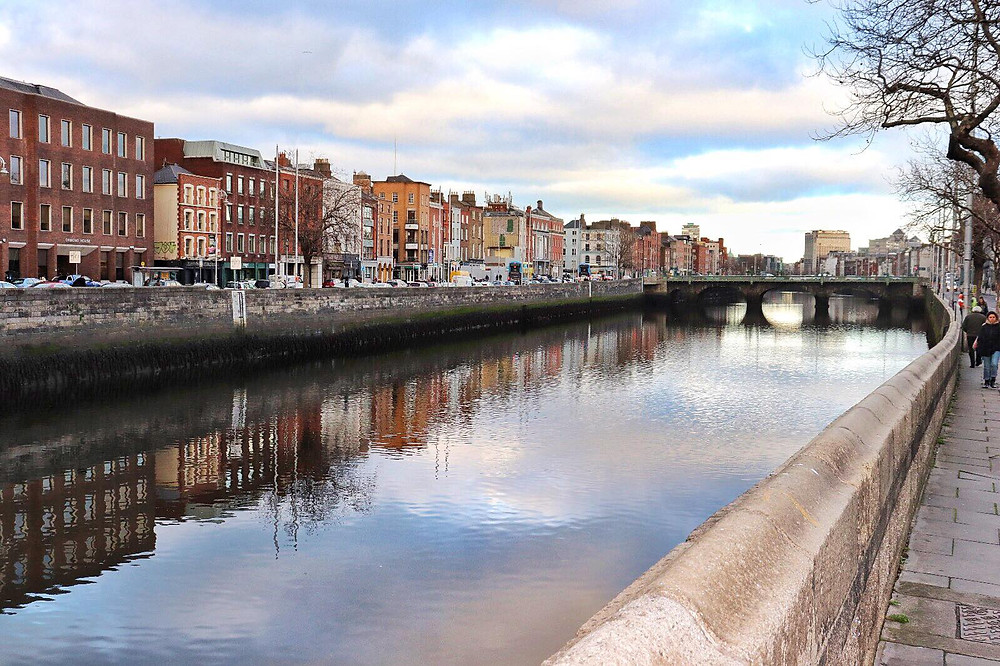 River Liffey on a cloudy day in Dublin Ireland