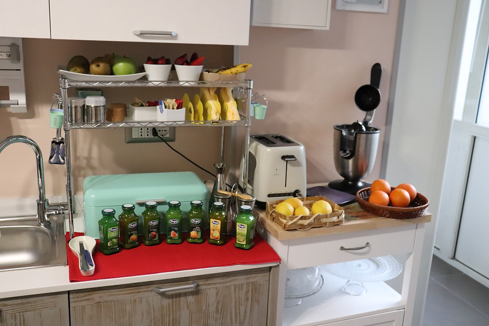 Kitchen with breakfast options laid out in B&B Via Toledo 156 Naples Italy