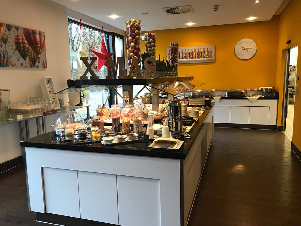Breakfast set up in QGreenhotel by Melia Frankfurt, Germany