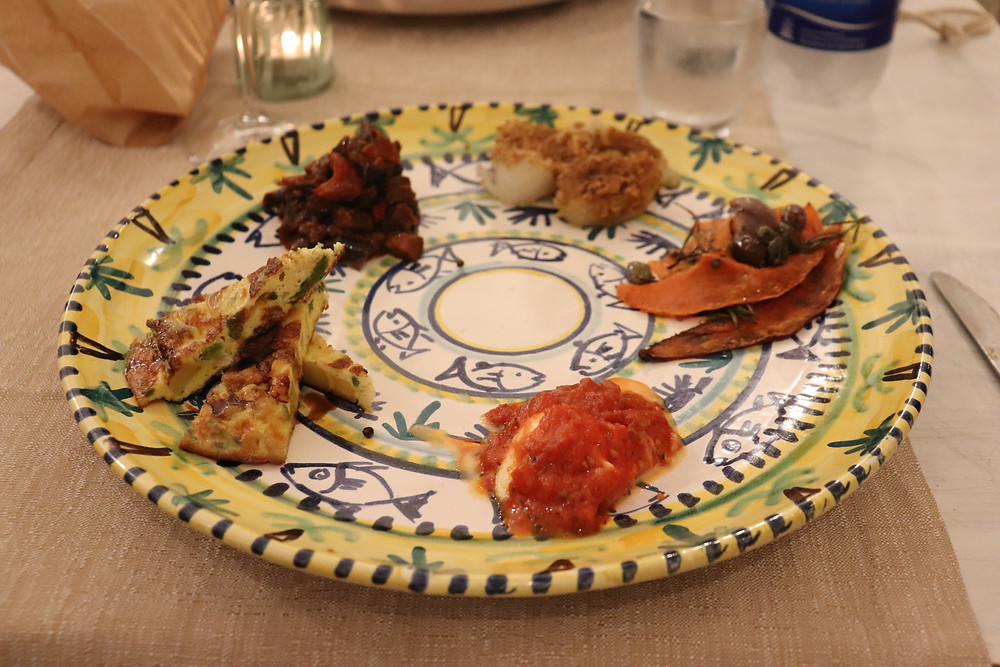 Selection of Italian dishes in a tapas style at B&B Baia di Trentova Cilento Italy