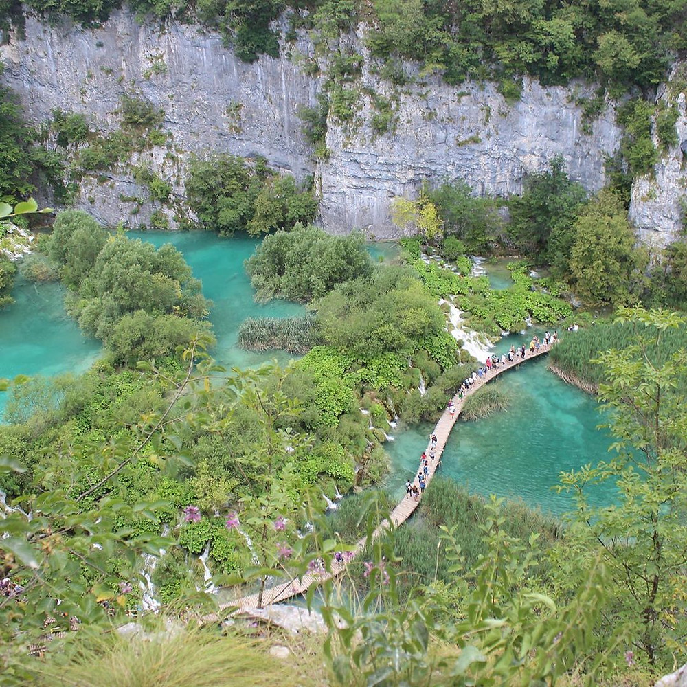 Aerial view of Plitvice Lakes in Croatia