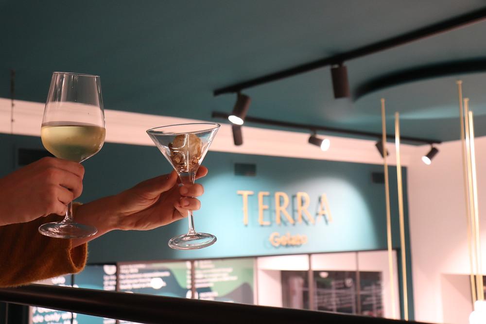 Aperitif gelato at Terra Gelato Milan Italy