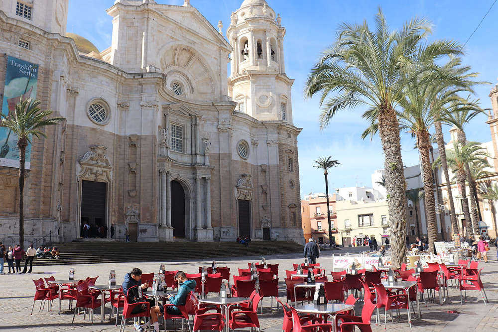 Cathedral in the plaza in cadiz southern spain