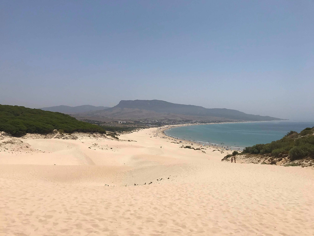 Playa Bolonia from the top of the sand dunes in southern spain