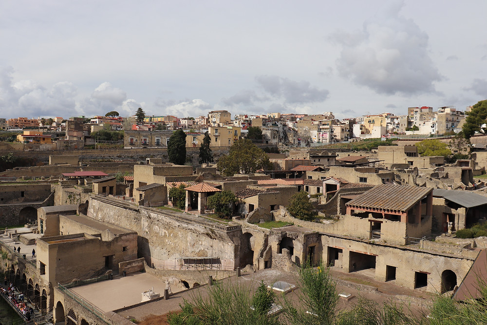 View of Herculaneum from the entrance outside of Naples Italy