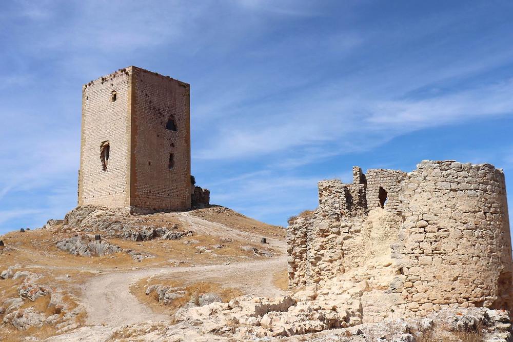 Castillo de la Estrella ruins sitting on a hill in Teba, Spain