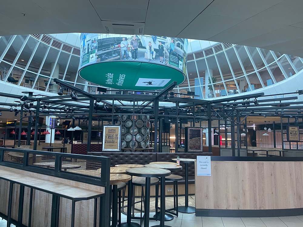 Restaurant area inside terminal 3 departures at Manchester Airport