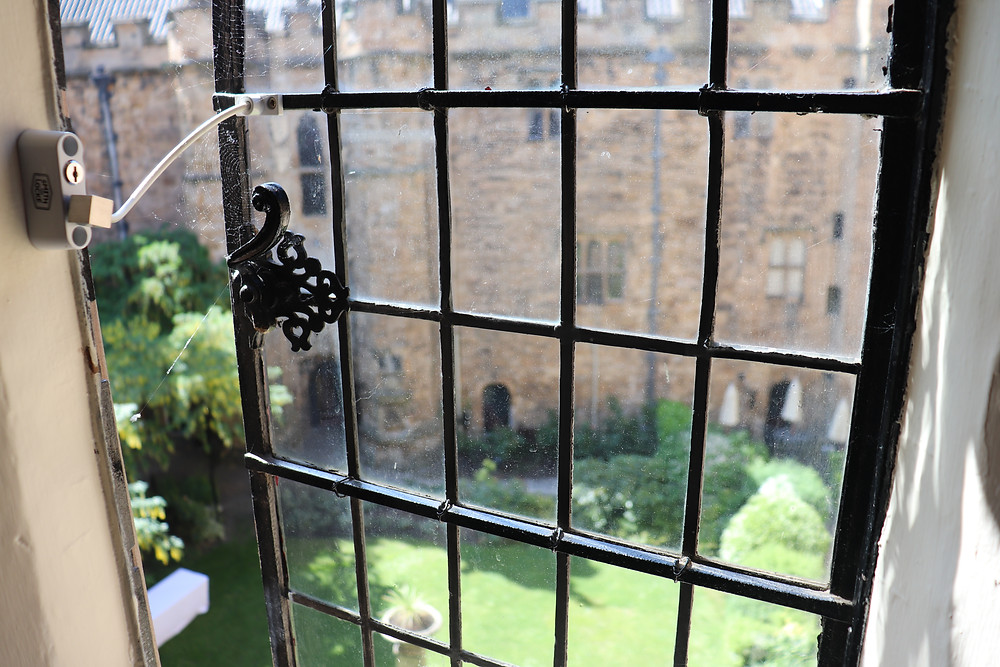 View of the inner courtyard and gardens from the top floor of lumley castle hotel northern england