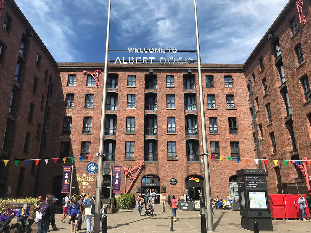 Albert Dock on a sunny day in Liverpool, England