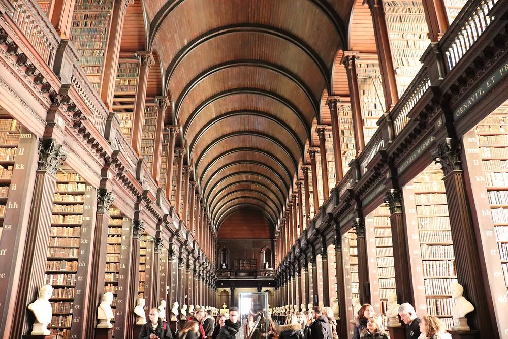 Inside Trinity College Library in Dublin Ireland