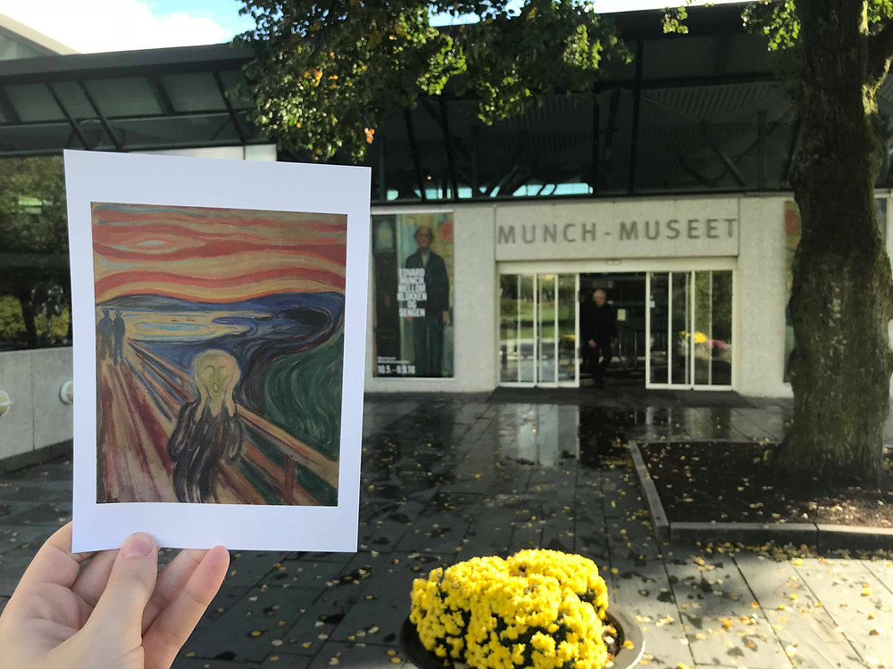 Munch Museum from the outside with a postcard in Oslo, Norway