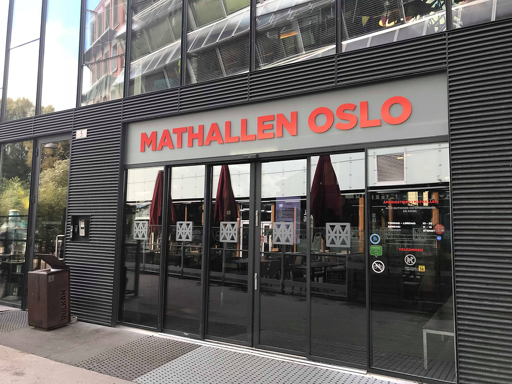 Mathallen Food Hall entrance in Oslo, Norway