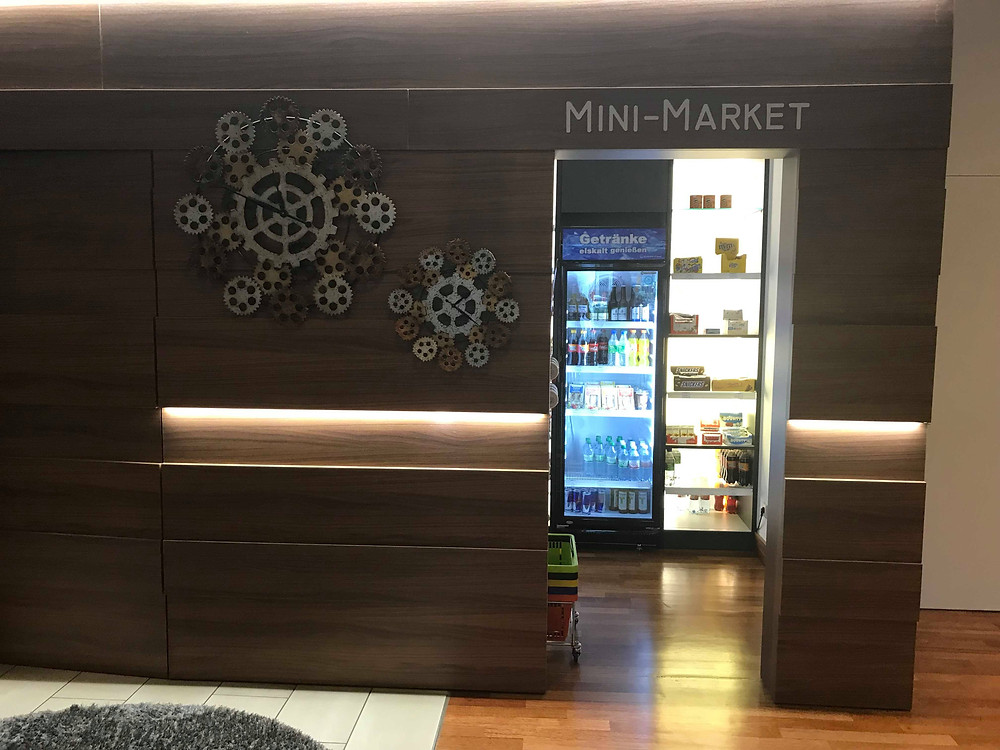 Mini market in the hotel lobby of QGreenhotel by Melia Frankfurt, Germany