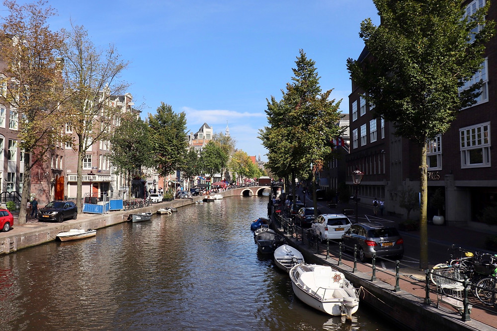 View of the Amsterdam canals on a sunny day