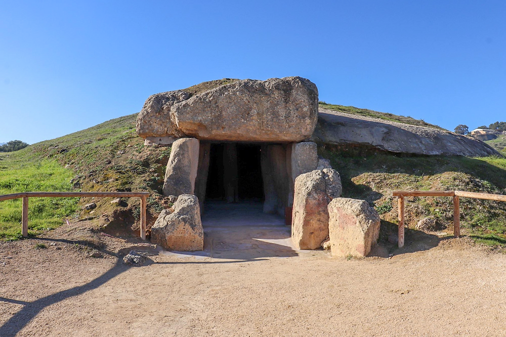 Outside of the entrance to one of the Dolmens in Antequera - an ancient rock cave formed by humans.