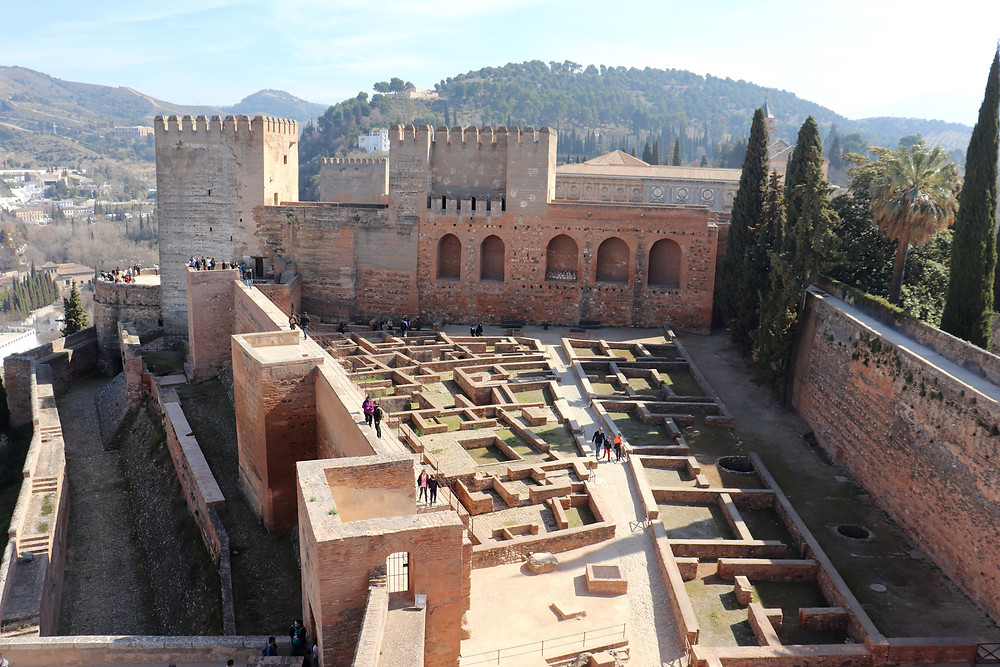 View from the tower of the Alhambra fortress/castle complex in Granada, Spain