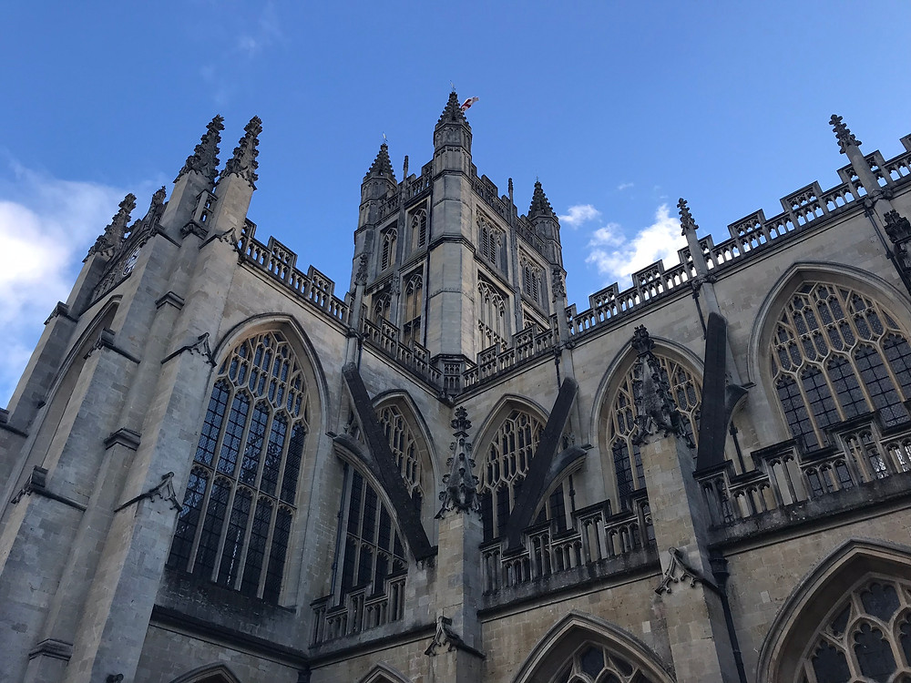 View of Bath Abbey from the street below outside, Bath, England