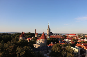 Viewpoint showing the city of Tallinn, Estonia in summer