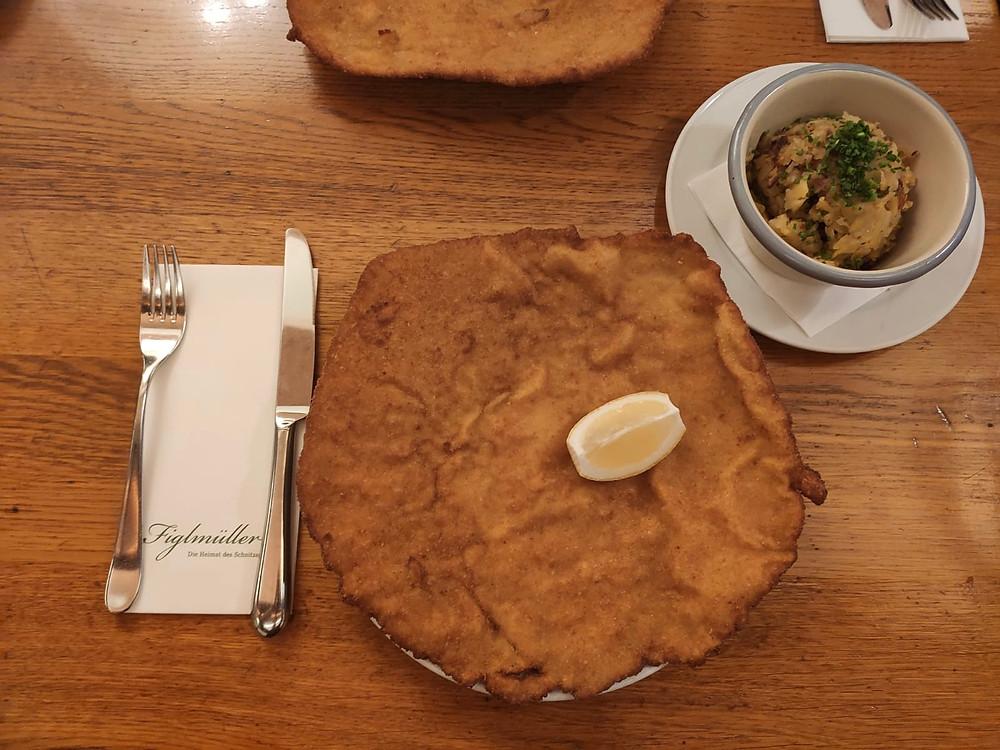 Large round pork schnitzel
