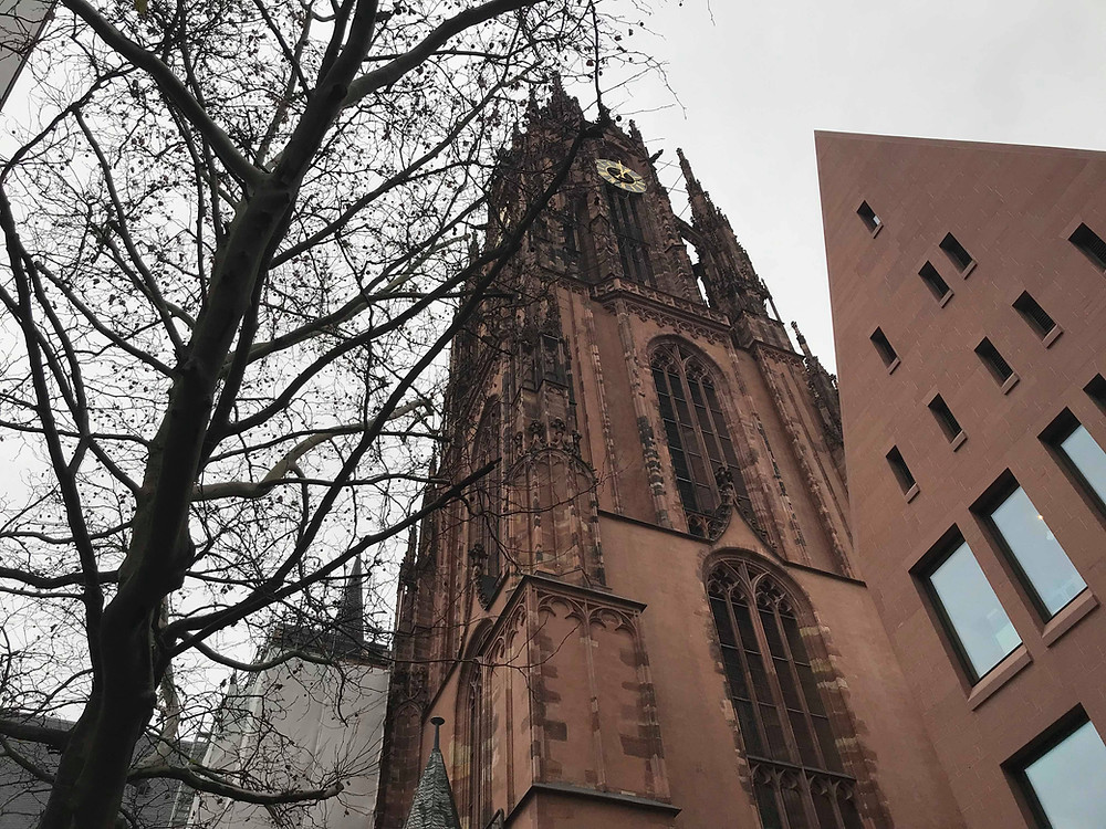 Frankfurt Cathedral view from below in Germany