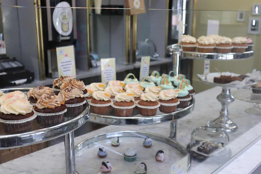 Display of cupcakes at 17 Sortir Reykjavik Iceland