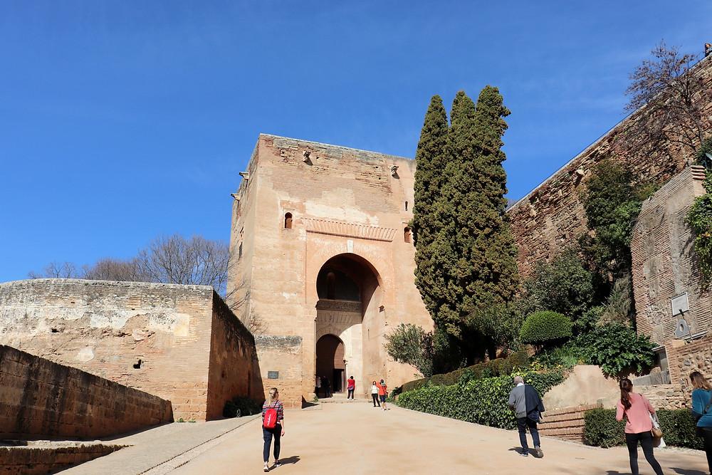 Entrance gate to the Alhambra complex in Granada, Spain