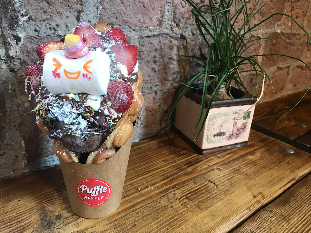 Colourful waffle cone from Puffle Waffle in Liverpool, England