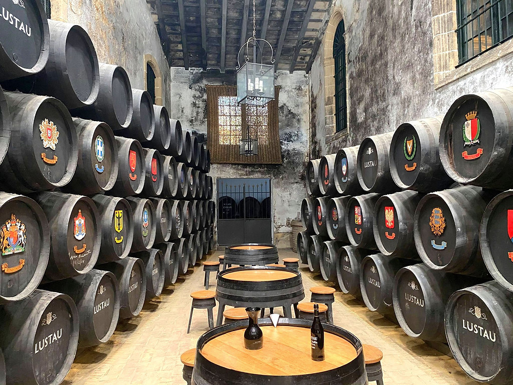 Bodegas Lustau barrels with crests of countries they produce wine for, Jerez, Cadiz