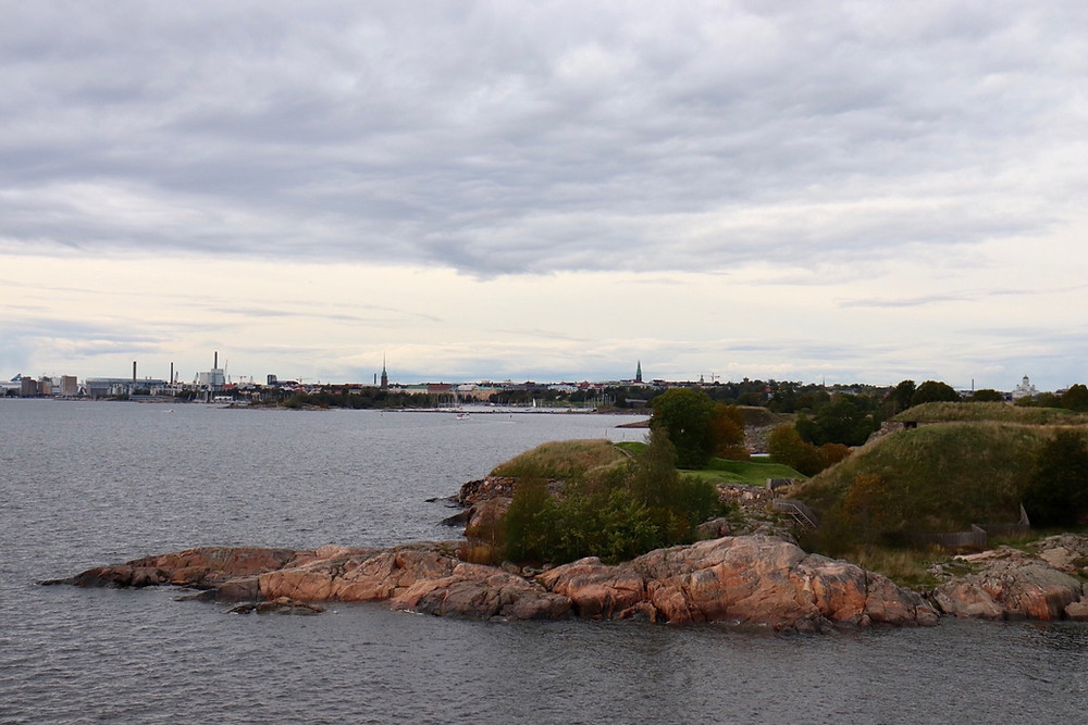 Suomenlinna viewpoint looking back at Helsinki city skyline, Finland