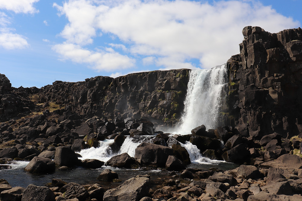 Oxarafoss Waterfall in the national park iceland