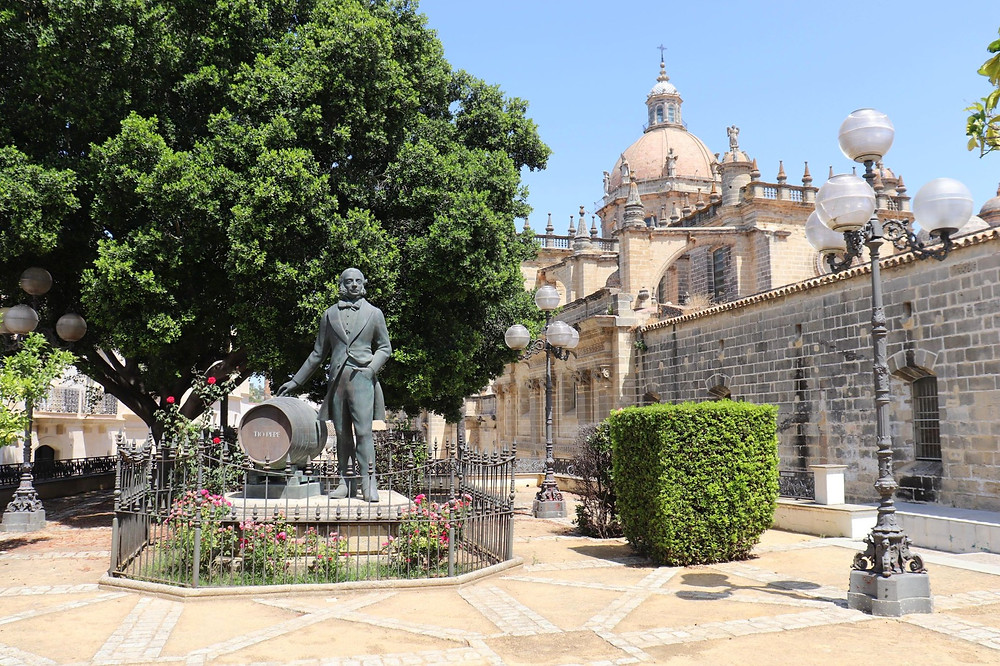 Jerez de la Frontera cathedral and Tio Pepe statue in southern Spain
