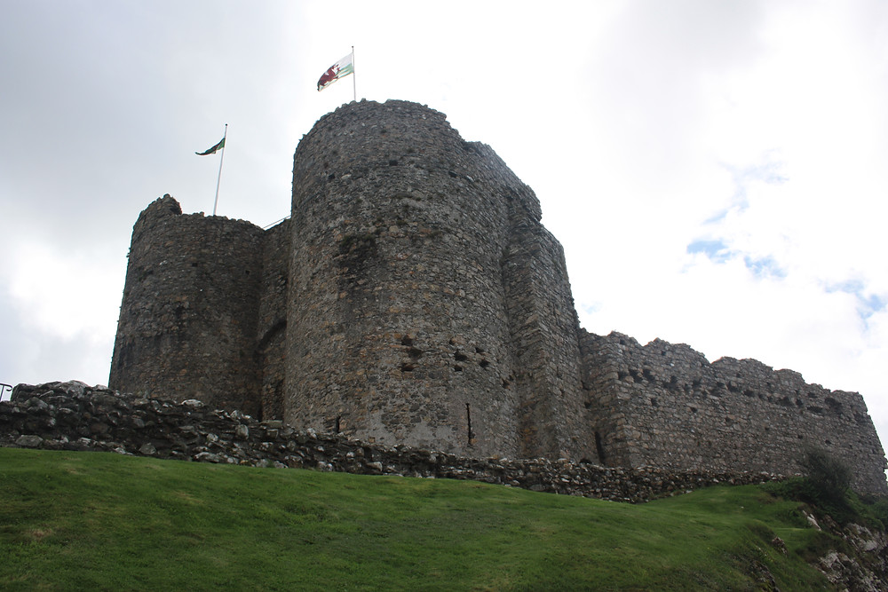 Criccieth Castle from below the hill in Wales