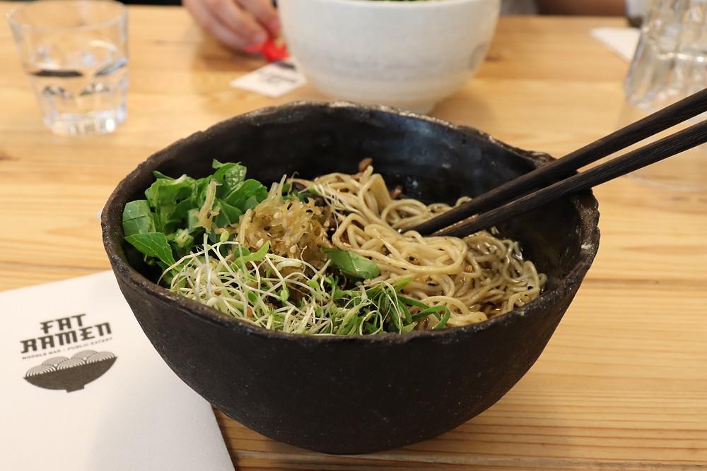 Ramen noodle bowl inside food market Helsinki Finland