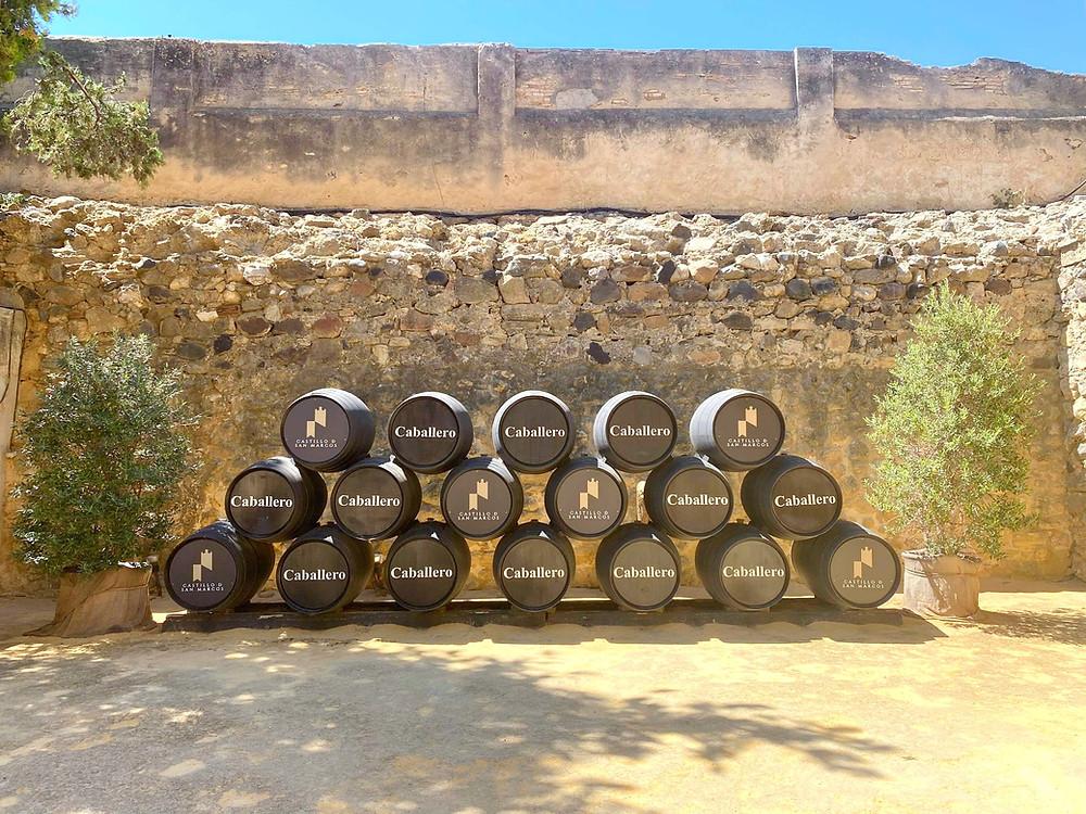 Bodegas Caballero wine barrels inside the Castillo de San Marcos grounds in El Puerto de Santa Maria, Cadiz