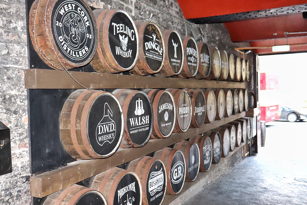 Barrels of whiskey lined up against the wall in Dublin Ireland