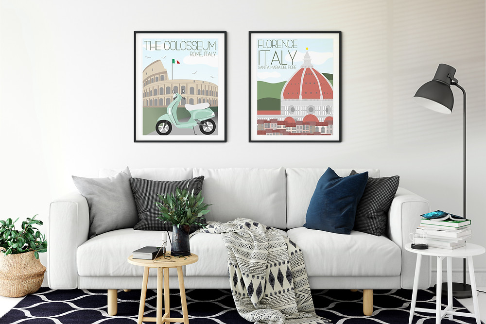 Living room scene with a couch and 2 Rome travel art prints on the wall by Fox Burrow Designs