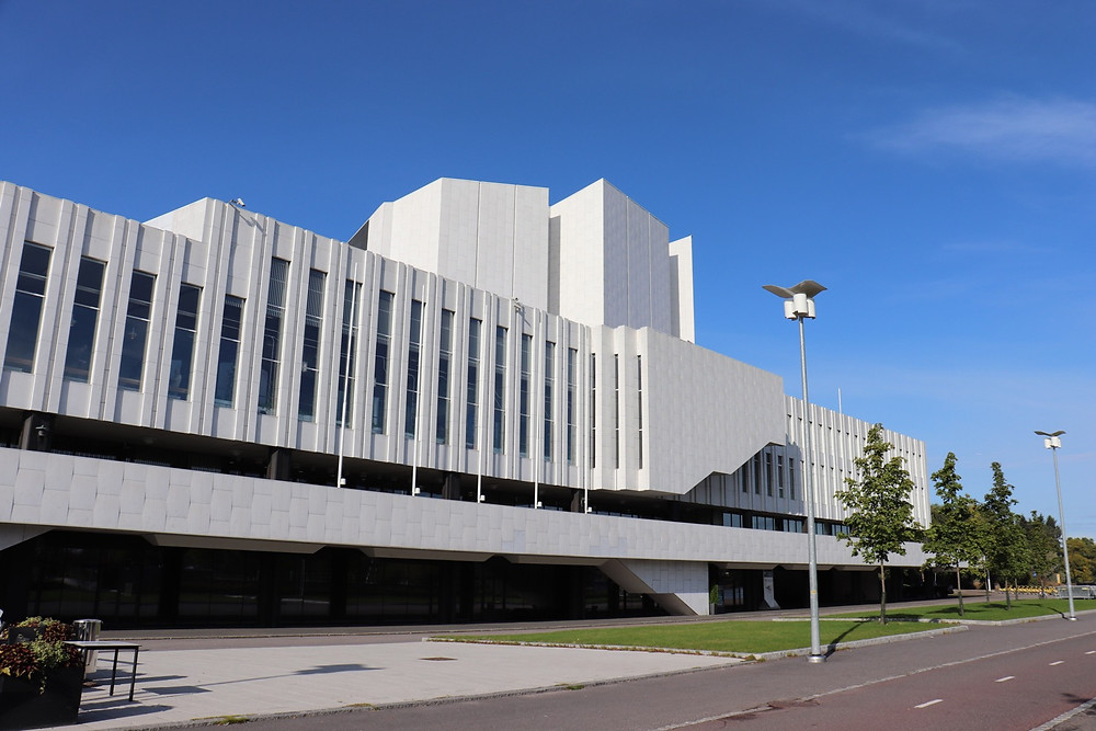 Finlandia Hall from the outside, Helsinki Finland