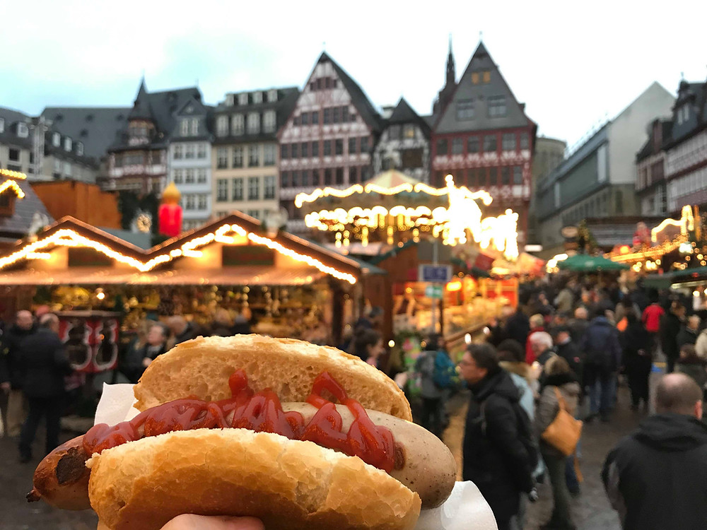 Bratwurst at the Christmas market in Frankfurt, Germany