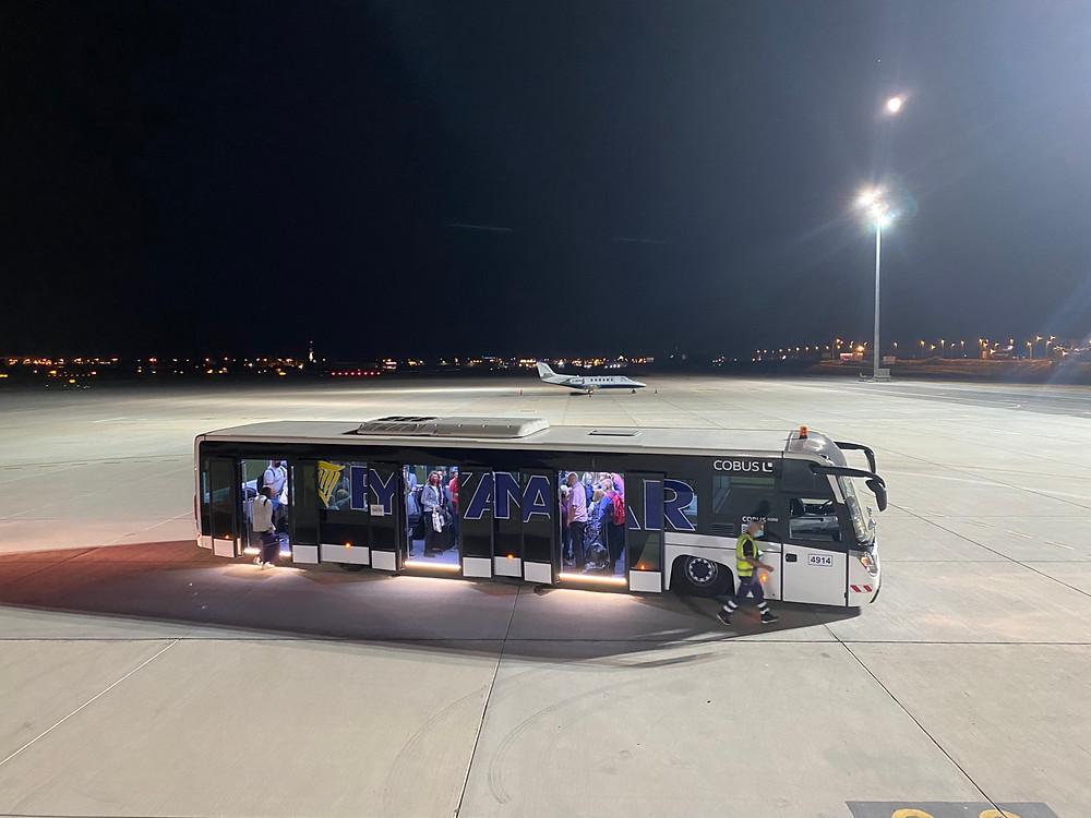 Ryanair airport shuttle at Malaga AIrport at night