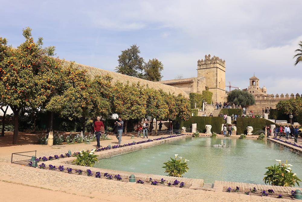 Alcazar de los Reyes Cristianos gardens in Cordoba Spain