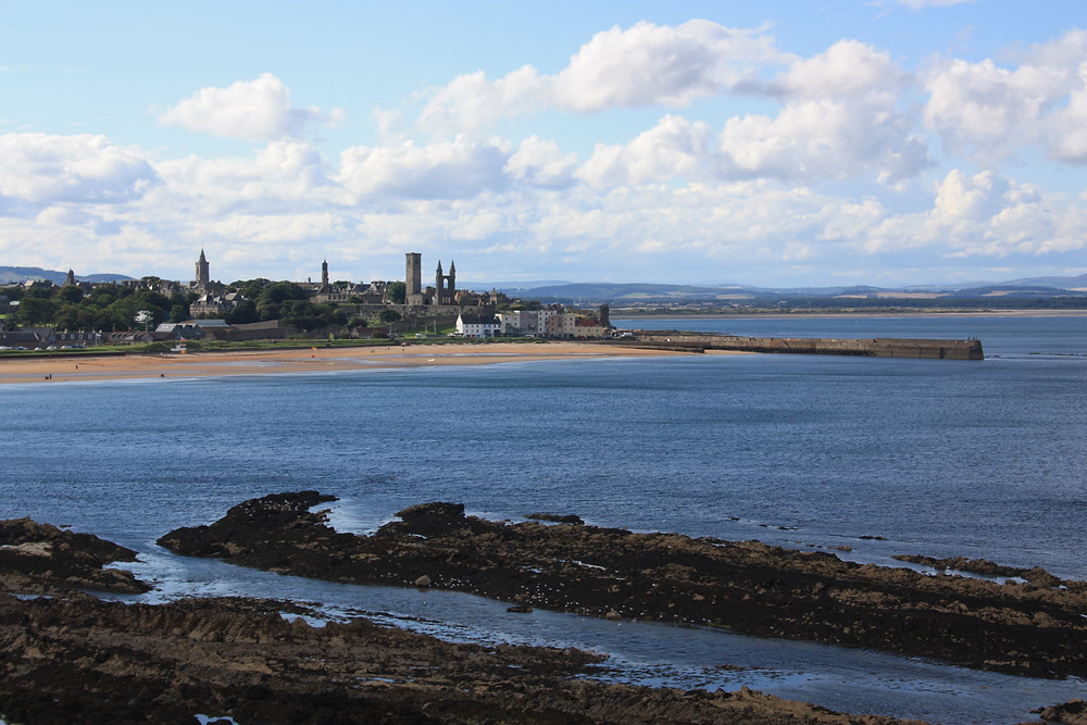 View of St Andrews from the Fife Coastal Path in Scotland