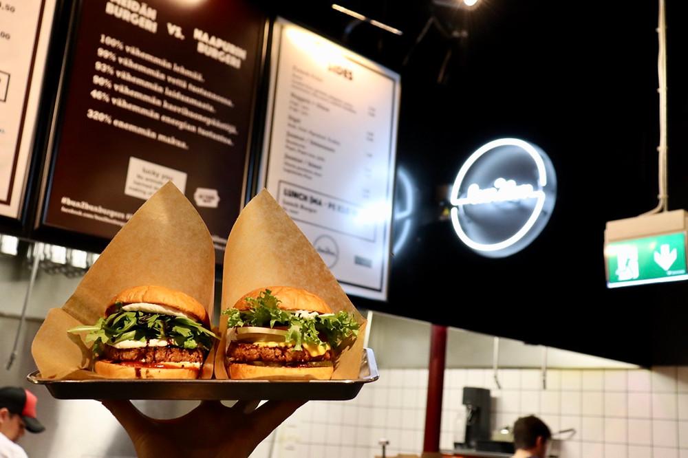 Two vegan burgers at Bun2Bun in Helsinki Finland