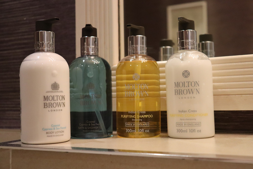Beauty products in the bathroom at rufflets hotel st andrews scotland