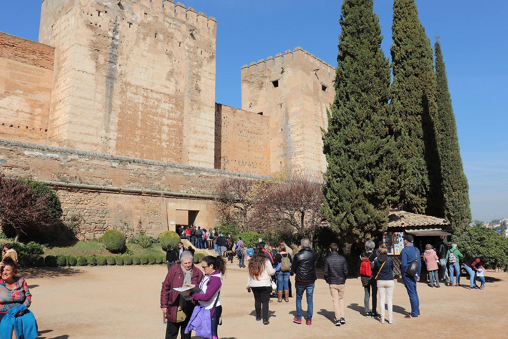 Long queue at the fortress inside the Alhambra in Granada, Spain