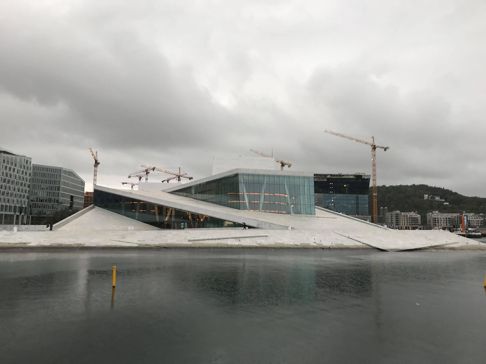 Oslo Opera House view from across the water in Oslo, Norway