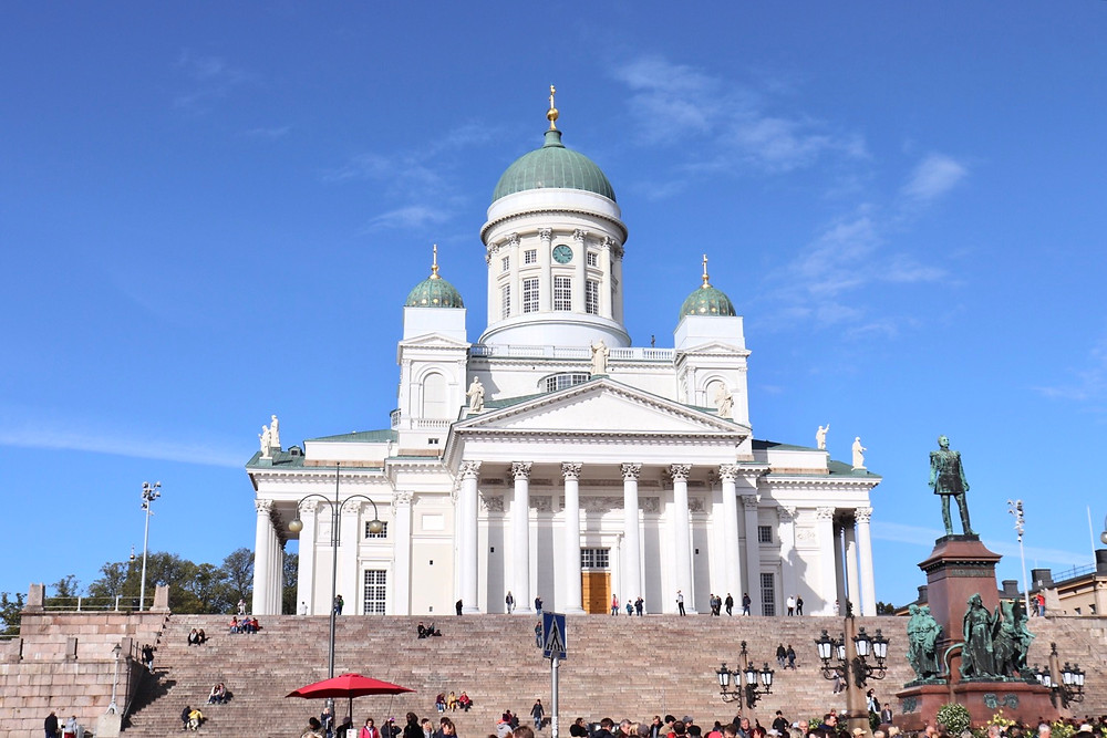 View of Helsinki Cathedral taken from Senate Square, Helsinki Finland