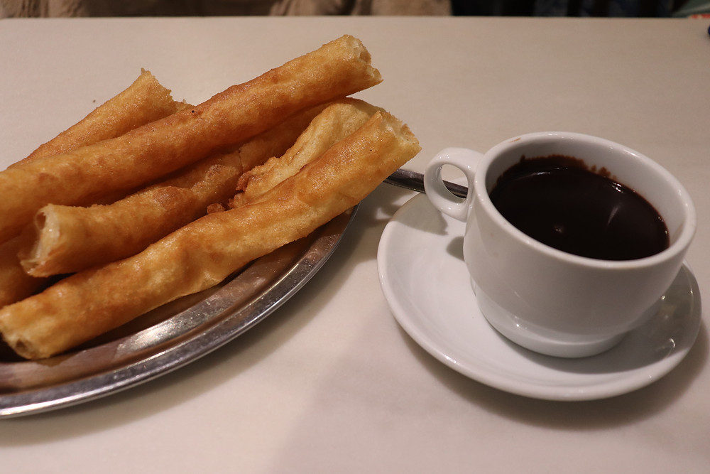 Churros with chocolate to dip in malaga southern spain