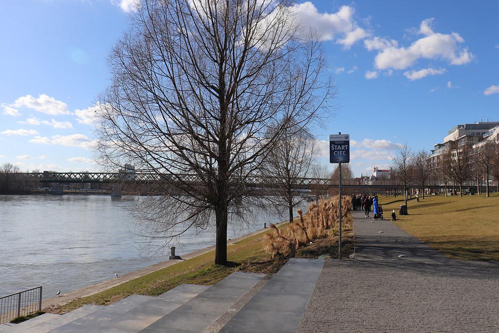 Pathway along the Danube River in Bratislava Slovakia